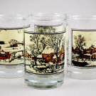 Set of 4 Arby's 1981 Currier & Ives Vintage Winter Collector's Series Glass Tumblers