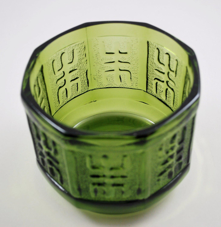Vintage Avocado Green Glass Planter Bowl Octagon Shape Aztec Design