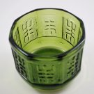 Vintage Avocado Green Glass Planter Bowl Octagon Shape Aztec Design