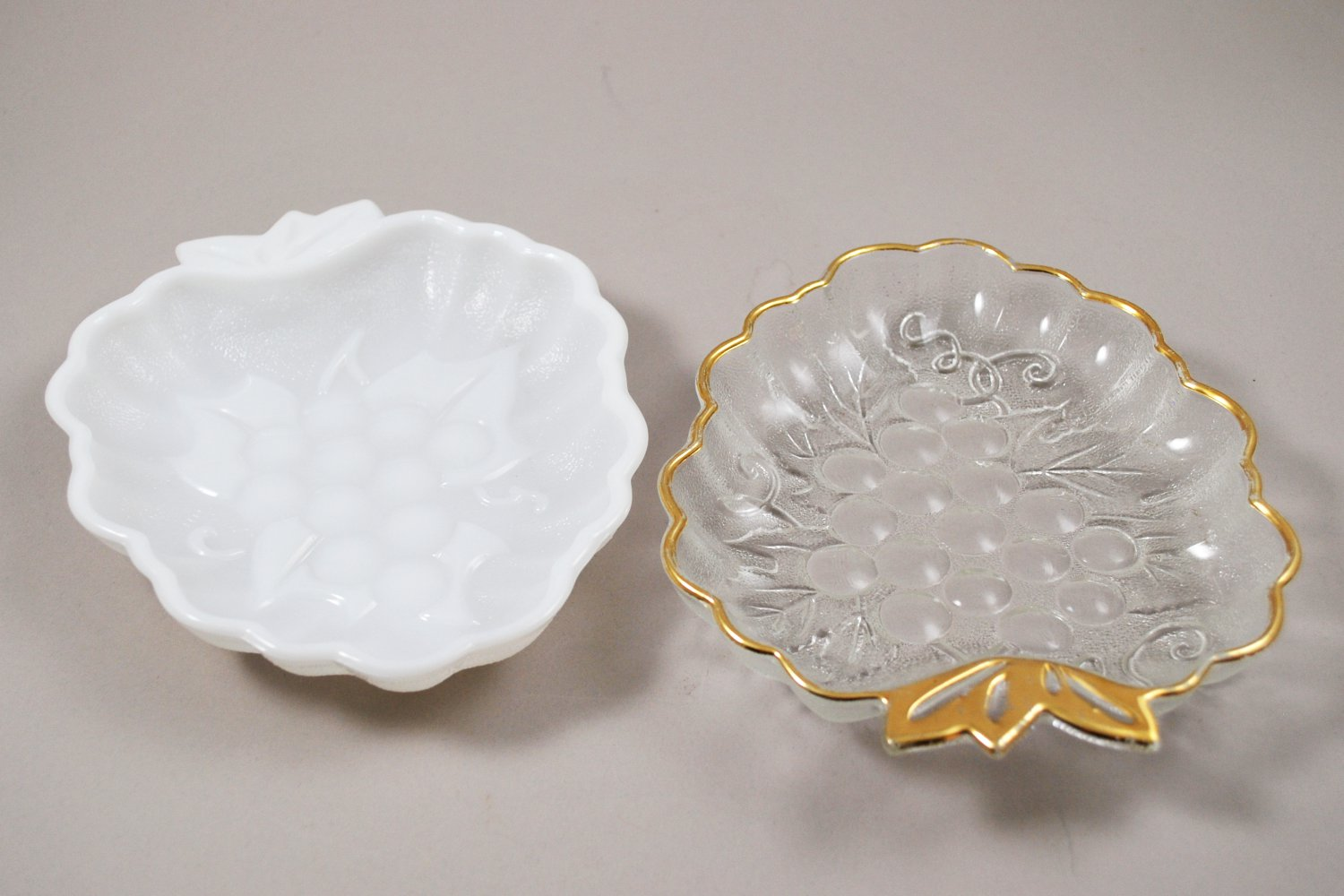 Pair of Vintage Hazel Atlas Grape No. 692 Relish Dishes Milk Glass & Clear w/ Gold Trim