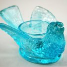 L.G. Wright Vintage Glass Light Blue Bird and Berry Salt Dip 77-50