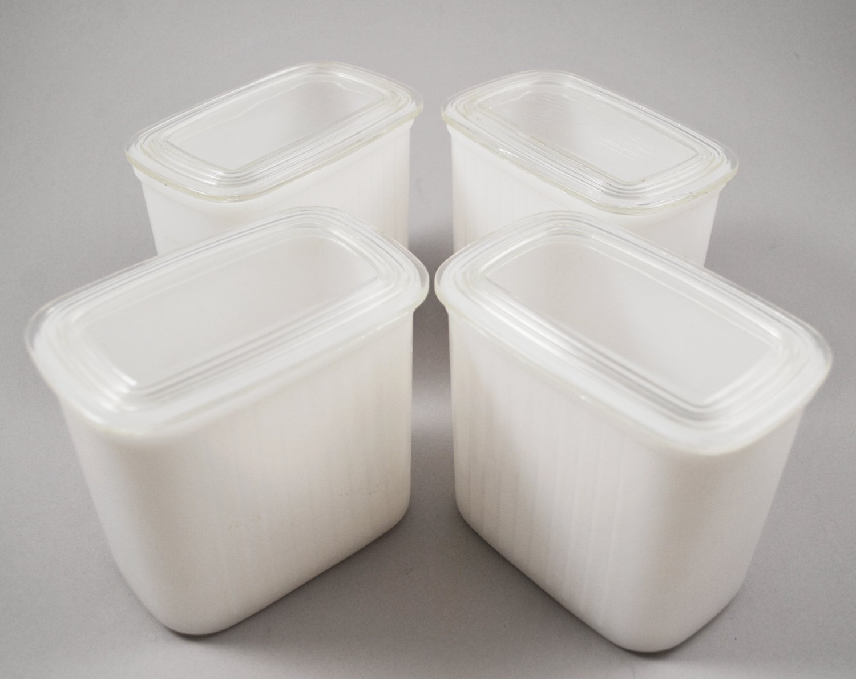 Hazel Atlas White Ribbed Utility Refrigerator Storage Jars w/ Clear Plastic Lid