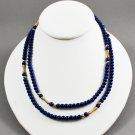 1981 Avon Jewelry Royal Azura Simulated Lapis Lazuli Blue Beaded Necklace