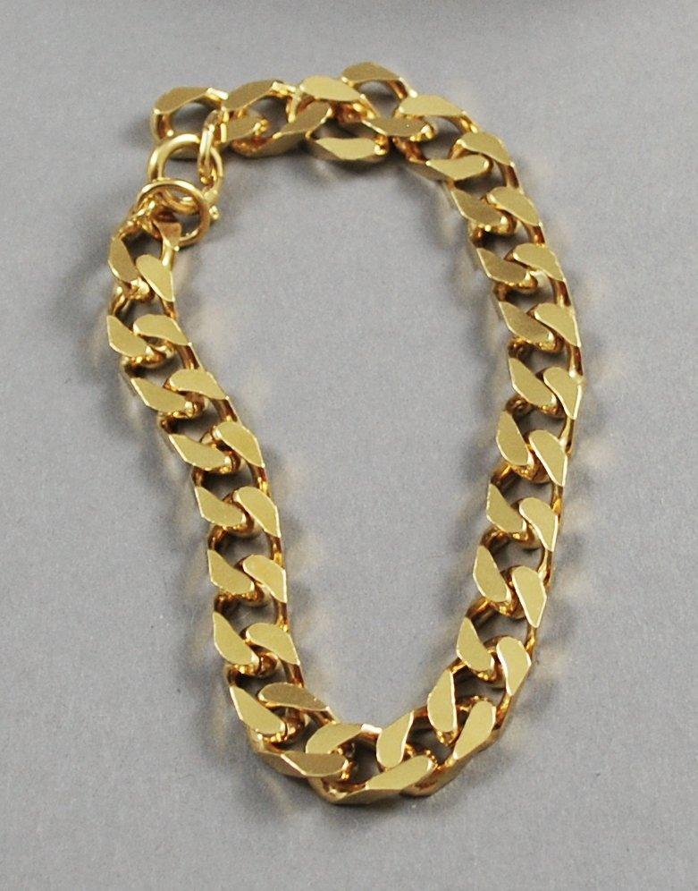 1989 Avon Men's Squared Links Goldtone Chain Vintage Bracelet