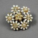 Vintage White Enamel Daisy Flower Faux Seed Pearls Rhinestone Brooch Pin