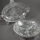 Two Vintage Anchor Hocking Thousand Line Stars & Bars Clear Glass Relish Dishes