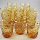 Set of 8 Anchor Hocking Milano Lido Honey Gold Glass Tumblers 3 Sizes Vintage