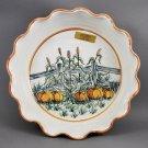 North Carolina Cagle Rd Pottery Autumn Pie Baking Stoneware Dish Pumpkin Scene
