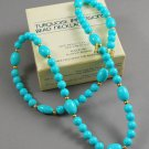 1983 Avon Turquoise Impressions Plastic Bead Necklace w/ Gold Tone Spacers