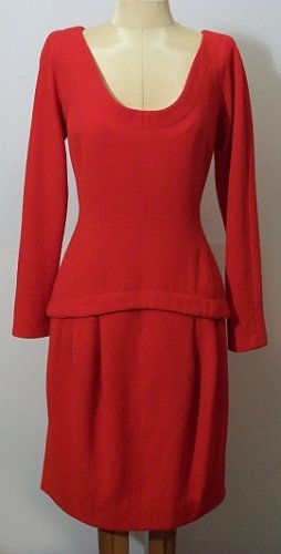 ANNE KLEIN LION LABEL RED WOOL DRESS SZ 4 - Bust 36 W 30 H 36
