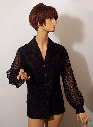 Judy Bond Vintage 60s Black Lace Blouse Top M Bust 40