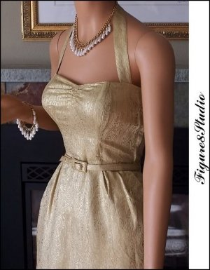 40's Gold Brocade Wiggle Bombshell Halter Vintage Dress & Jeweled Jacket Set