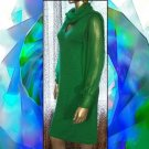 Groovy 70s Green Glitter Knit Dress with Sheer Sleeves & Scarf