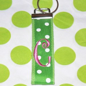 Green Polka Dotted Keychain