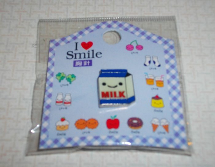 I love Smile Milk Carton Badge