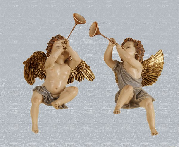 Sitting Cherub Angels with Trumpets