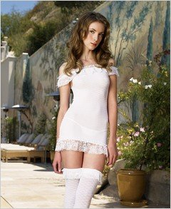 Ruffle Trim Dress With Matching Stockings - Plus Size