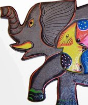 Hand Made Wooden Elephant with Babies Puzzle -  So Beautiful, can be used as Wall Décor!