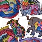 Complete Set of All Six Hand Made Wooden Animal Puzzles Giraffe, Elephant, Fish, Crab, Cat