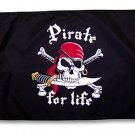 12x18 inch Pirate for Life - Pirate Flag!   Made in USA