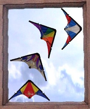 4 piece Mini Window Stunt Kite Set - Great window decor for kite enthusiasts!