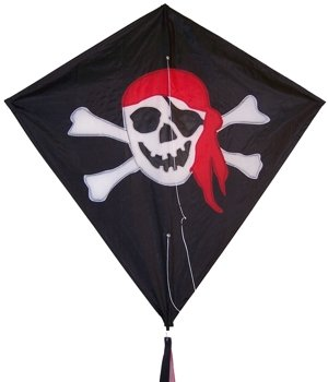 Single Line PIRATE Jolly Roger DIAMOND KITE- Line & Handle Included