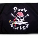 Large 3x5 Pirate for Life - Pirate Boat Flag