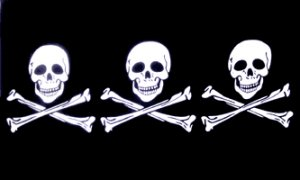 3 Skulls Pirate Boat / Motercycle Flag 3x5