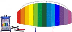 Stunt Kite - 62in Air Foil with Line, Winder, Straps and Carry Bag Included!