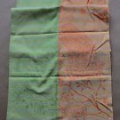 "GARNIER THIEBAUT 100% COTTON RECTANGULAR ORANGE/GREEN TABLE RUNNER 22""X71"" NEW"