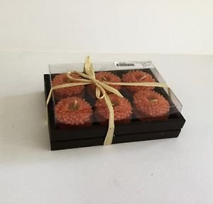 Bougies la Francaise Wooden Tray with 6 mini flowers  color Orange