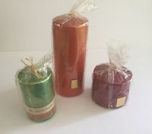 Bougies la Francaise-3 pillar candle wrapped assorted color