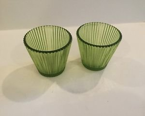 Bougies la Francaise - Fluted Glass Candle Holder -  Green set