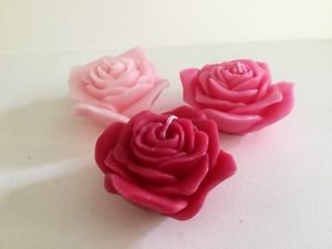 Bougies la Francaise - 3 Rose flower shapes candles Red, pink, dark pink