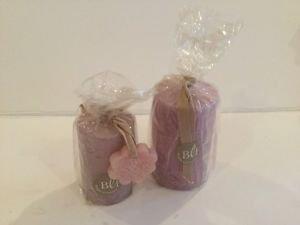 Bougies la Francaise-  Set Pillar round light purple wrap