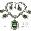 Larry Vrba Necklace Earrings Set Vintage Emerald Diamond