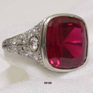 Edwardian Platinum Diamond Synthetic Ruby Ring