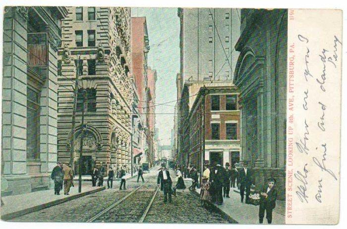 4th Avenue Street Scene Pittsburgh PA c. 1908 Postcard