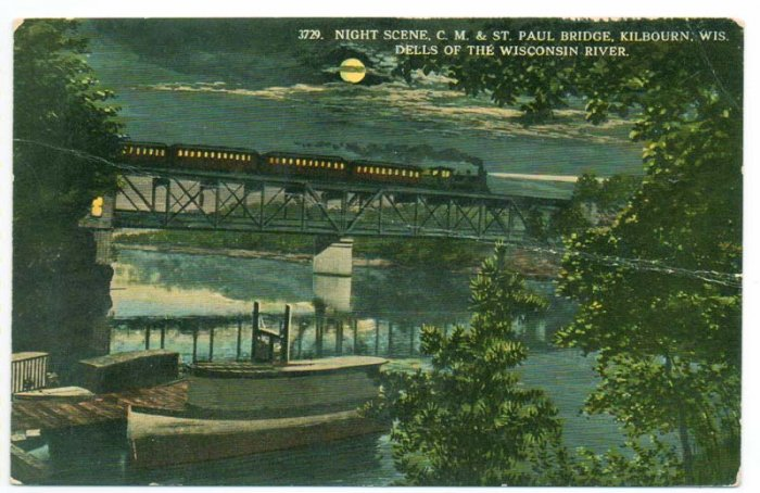 Kilbourn Wisconsin WI Night Scene Railroad Bridge c.1910 Postcard