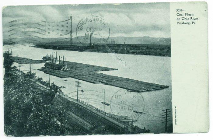 Coal Fleets on Ohio River Pittsburgh PA Postcard