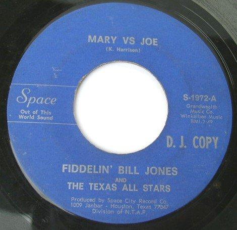 Fiddelin' Bill Jones - Mary vs Joe / If You Don't Love Me 45rpm