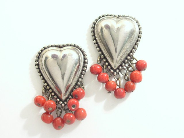 Heart Shaped Mexican Silver-tone With Red Dangling Beads
