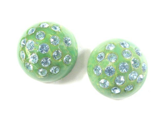 Vintage Green Swirled Plastic Blue Rhinestone Earrings