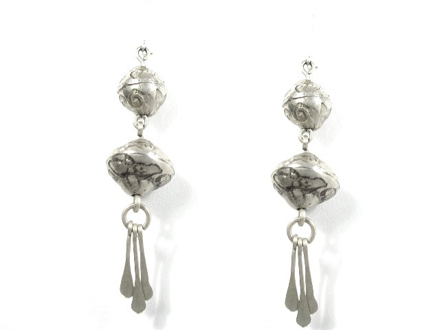 Vintage Mexican Silver Dangling Bead Earrings Pierced