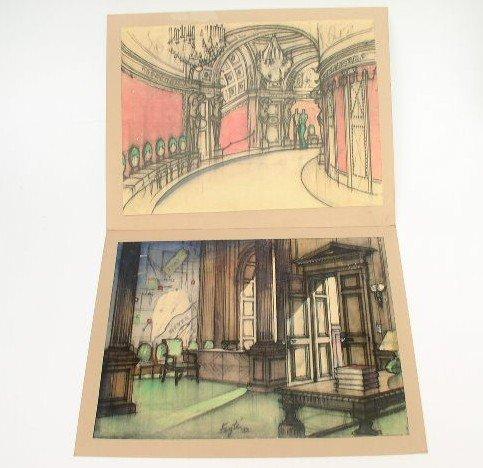 2 Vintage Ernst Fegte Production Design Art Prints