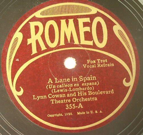 Lynn Cowan - A Lane In Spain / Dixie Music Makers - Sweet Swanee Lady 1926 78rpm