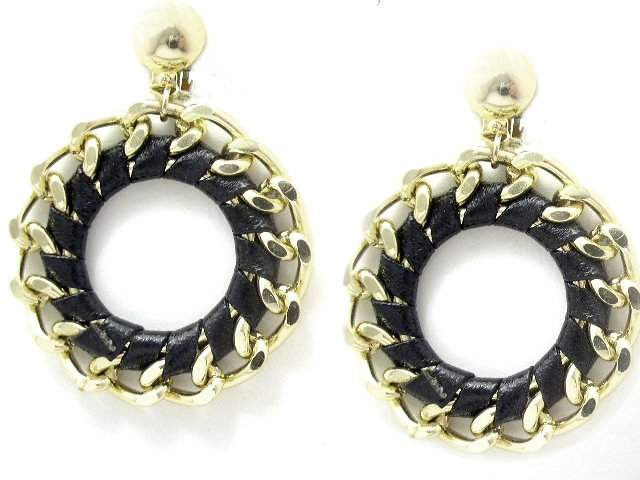 Gold Tone Metal Chain Black Leather Dangling Earrings Clip