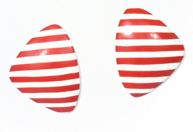 Vintage Large Red & White Stripe Painted Clip Earrings