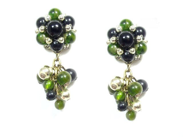 Vintage Black Green & Gold Tone Dangling Bead Earrings Clip