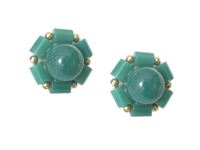 Vintage Green Plastic Bead Screw Type Earrings 1940s